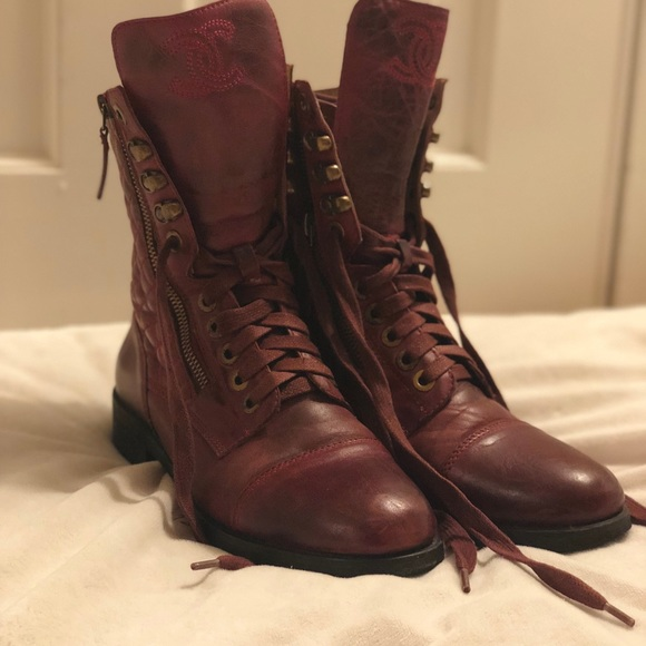01aeb64b476 CHANEL Shoes - 🛍Authentic CHANEL Maroon Leather Combat Boots🛍